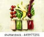 multicolored smoothies and... | Shutterstock . vector #645977251