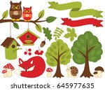 vector summer forest set with... | Shutterstock .eps vector #645977635