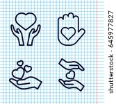 set of 4 giving outline icons... | Shutterstock .eps vector #645977827