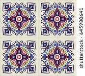 portuguese tiles pattern.... | Shutterstock .eps vector #645980641