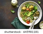 whole wheat organic pasta with... | Shutterstock . vector #645981181