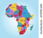 map of africa. vector... | Shutterstock .eps vector #645981184
