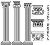 stylized greek columns. doric.... | Shutterstock .eps vector #645981391
