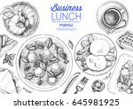 business lunch top view frame.... | Shutterstock .eps vector #645981925