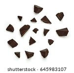 chocolate parts on white...