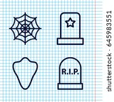 set of 4 horror outline icons... | Shutterstock .eps vector #645983551
