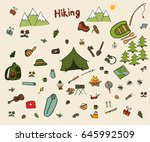 hiking doodle line elements set.... | Shutterstock .eps vector #645992509