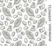 seamless pattern with pistachio ... | Shutterstock .eps vector #645994711