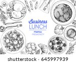business lunch top view frame.... | Shutterstock .eps vector #645997939