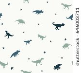 seamless pattern with  dinosaurs | Shutterstock .eps vector #646003711