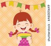 girl eating boiled corn in... | Shutterstock .eps vector #646005649