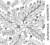 hand drawn zentangle sunflowers ... | Shutterstock .eps vector #646009879