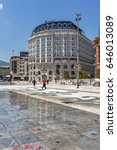 Small photo of SKOPJE, REPUBLIC OF MACEDONIA - 13 MAY 2017: Skopje City Center and Alexander the Great square, Republic of Macedonia