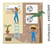 two men install or repair an... | Shutterstock .eps vector #646015849