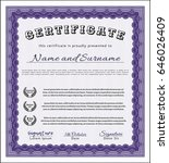 violet diploma. with linear... | Shutterstock .eps vector #646026409