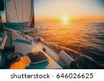 sailing boat in the sea during... | Shutterstock . vector #646026625