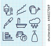 set of 9 drop outline icons... | Shutterstock .eps vector #646027069