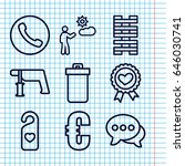 Set Of 9 Button Outline Icons...