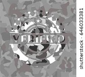 verified on grey camouflaged... | Shutterstock .eps vector #646033381