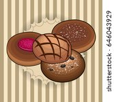 set of bakery products on a... | Shutterstock .eps vector #646043929