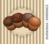 set of bakery muffins on a... | Shutterstock .eps vector #646046611