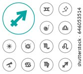 set of 12 astrology icons set... | Shutterstock .eps vector #646053514
