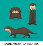 Cute Otter Cartoon Vector...