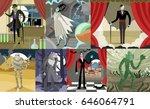 great classic monsters scenes | Shutterstock .eps vector #646064791