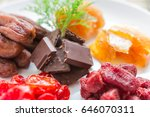 mixed dried fruits with... | Shutterstock . vector #646070311