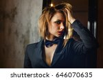 young attractive girl in a... | Shutterstock . vector #646070635