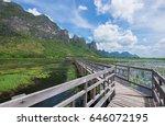 small pavillion on wooden...   Shutterstock . vector #646072195