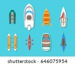 Cartoon Color Boats Icons Set...