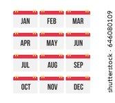 flat design of calendar month... | Shutterstock .eps vector #646080109