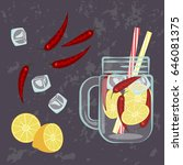 illustration of detox water... | Shutterstock . vector #646081375