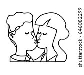line cute couple kissing a... | Shutterstock .eps vector #646082299