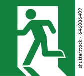 vector green exit sign. running ... | Shutterstock .eps vector #646086409