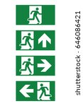 vector green exit sign. running ... | Shutterstock .eps vector #646086421