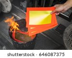 burning of chinese offering... | Shutterstock . vector #646087375