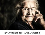 portrait of a beautiful senior... | Shutterstock . vector #646090855