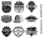 set of vintage car service... | Shutterstock .eps vector #646091521