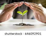 hands protect cover guard... | Shutterstock . vector #646092901