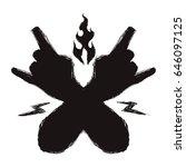 black hands with rock symbol...   Shutterstock .eps vector #646097125
