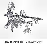 human hand smoking magic pipe... | Shutterstock .eps vector #646104049