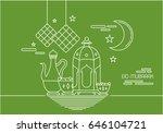 eid al fitr background in mono... | Shutterstock .eps vector #646104721