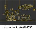 eid al fitr background in mono... | Shutterstock .eps vector #646104739