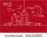 eid al fitr background in mono... | Shutterstock .eps vector #646104805