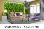 interior living room. 3d... | Shutterstock . vector #646107781