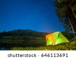 camping in forest at night with ... | Shutterstock . vector #646113691