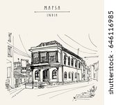 old portuguese farmacy building ... | Shutterstock . vector #646116985