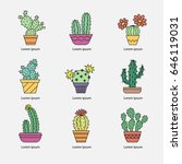 a set of icons of cactus. flat... | Shutterstock .eps vector #646119031